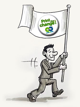 green printing pioneer with print the change flag - illustration